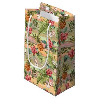 Sacola Para Presentes Pequena Teste padrão floral das listras da fruta tropical