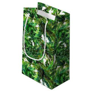 Sacola Para Presentes Pequena Teste padrão verde da queda da floresta da
