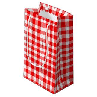 Sacola Para Presentes Pequena Teste padrão vermelho/branco do guingão