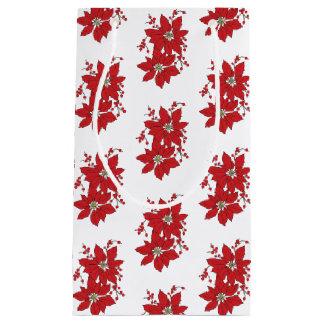 Sacola Para Presentes Pequena Teste padrão vermelho do Natal da poinsétia