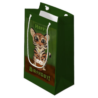 Sacola Para Presentes Pequena Tigre do aniversário
