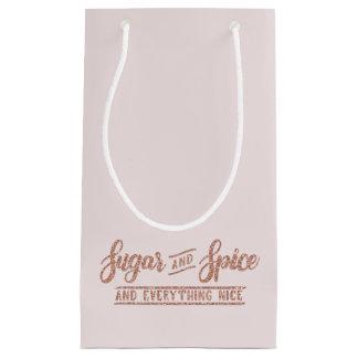 Sacola Para Presentes Pequena Tipografia cor-de-rosa do brilho do ouro do açúcar