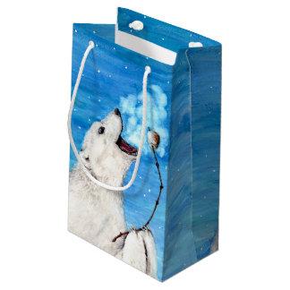 Sacola Para Presentes Pequena Urso polar com Marshmallow brindado