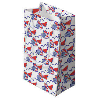 SACOLA PARA PRESENTES PEQUENA USA-POLISH-FLAG-HEARTS