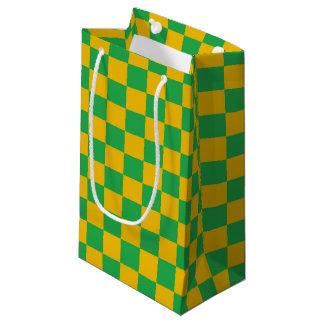 Sacola Para Presentes Pequena Verde Checkered e ouro