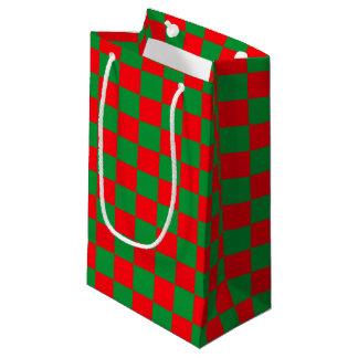 Sacola Para Presentes Pequena Verde Checkered e vermelho