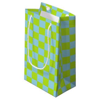 Sacola Para Presentes Pequena Verde limão Checkered e azul Pastel