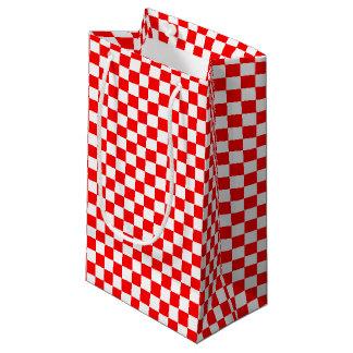Sacola Para Presentes Pequena Verificadores vermelhos & brancos