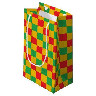 Sacola Para Presentes Pequena Vermelho, verde e ouro Checkered