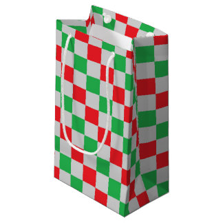Sacola Para Presentes Pequena Vermelho, verde e prata Checkered