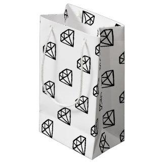 Sacola Para Presentes Pequena Versão preto e branco do diamante
