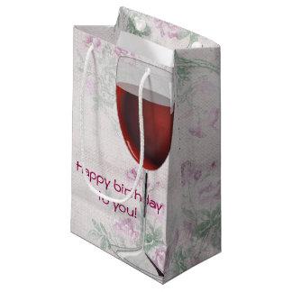 Sacola Para Presentes Pequena vidro de vinho no fundo floral retro