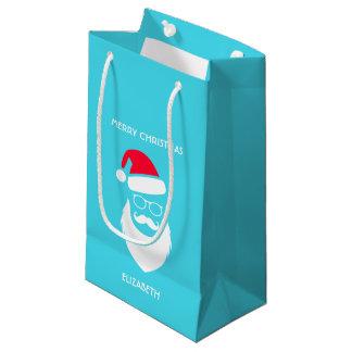 Sacola Para Presentes Pequena Vidros e bigode da barba de Red Hat do papai noel