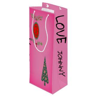 Sacola Para Vinho A árvore de Natal do azevinho dos cumprimentos das