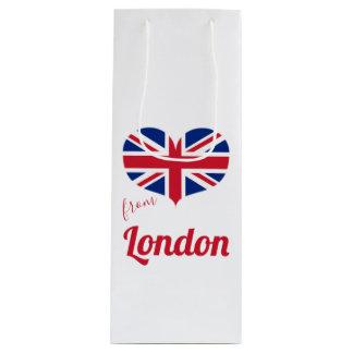 Sacola Para Vinho Amor da bandeira BRITÂNICA dada forma coração