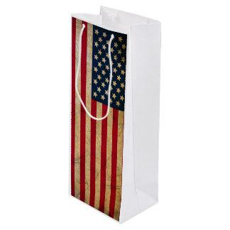 Sacola Para Vinho Bandeira americana EUA do vintage do Grunge