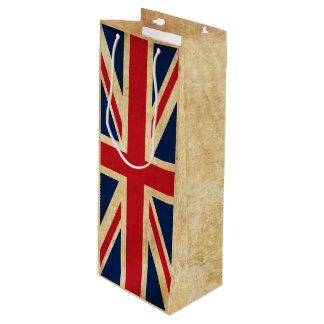 Sacola Para Vinho Bandeira velha Union Jack de Reino Unido do Grunge