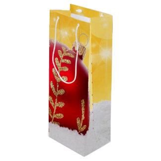 Sacola Para Vinho Bola do Natal da neve de Bokeh do Natal