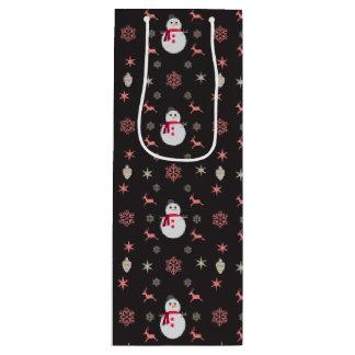 Sacola Para Vinho Boneco de neve Navidad do quadro