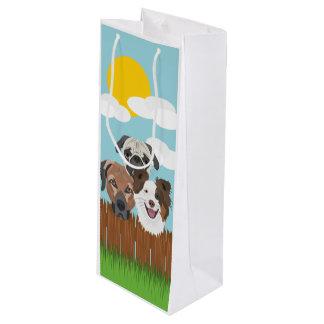 Sacola Para Vinho Cães afortunados da ilustração em uma cerca de