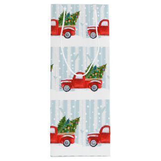 Sacola Para Vinho Camionete vermelho do Natal em uma estrada nevado