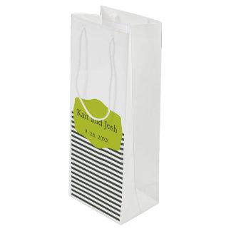 Sacola Para Vinho Casamento minimalista elegante do verde morno do