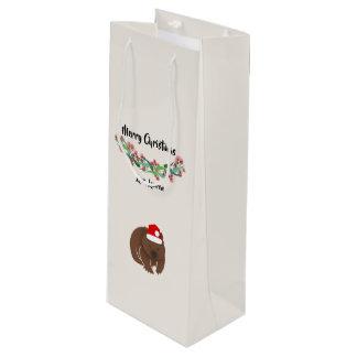Sacola Para Vinho Design australiano dos animais do Natal