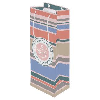 Sacola Para Vinho Do rosa na moda das listras da âncora do monograma