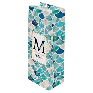 Sacola Para Vinho Escalas de peixes da sereia do mármore de turquesa