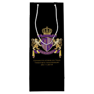 Sacola Para Vinho Faça seu próprio emblema da coroa do monograma da