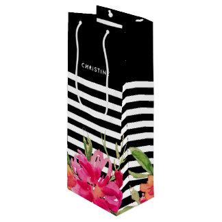 Sacola Para Vinho Flores do fúcsia do preto | que Wedding as bolsas