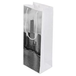 Sacola Para Vinho Grayscale de Chicago River da torre do trunfo