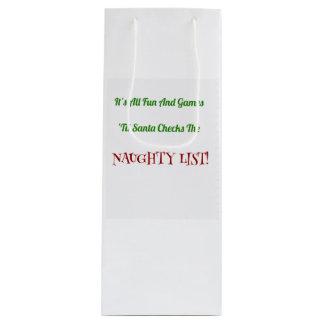 Sacola Para Vinho Lista impertinente do Natal cómico decorativa