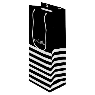 Sacola Para Vinho Listras do branco do preto | que Wedding as bolsas