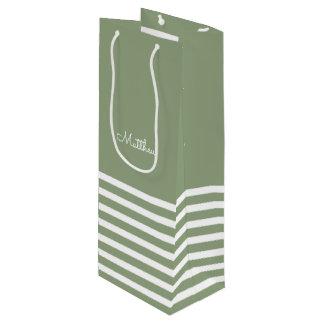 Sacola Para Vinho Listras do branco do verde | que Wedding as bolsas