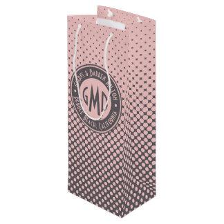 Sacola Para Vinho Na moda cinzento cor-de-rosa milenar do monograma