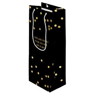 Sacola Para Vinho O confete do ouro do falso pontilha o saco preto