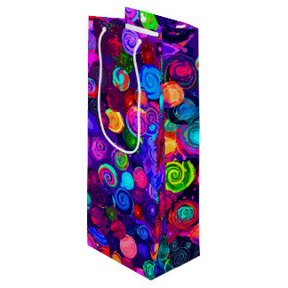 Sacola Para Vinho Padrões espirais coloridos bonitos do cosmos