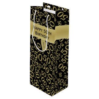 Sacola Para Vinho Personalize:  50th ouro feliz do aniversário/preto