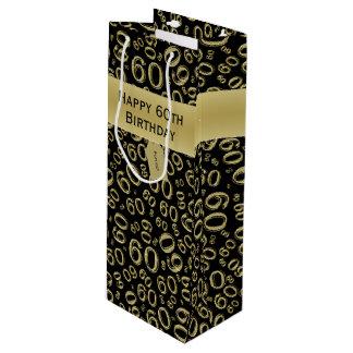 Sacola Para Vinho Personalize:  60th ouro feliz do aniversário/preto