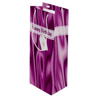 """Sacola Para Vinho Personalize """"o feliz aniversario"""" no cetim da"""