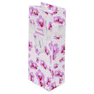 Sacola Para Vinho Personalize:  Orquídea floral do roxo da