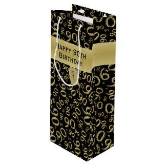 Sacola Para Vinho Personalize:  Ouro feliz do aniversário do
