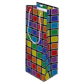 Sacola Para Vinho Quadrados estáticos esboçados branco do arco-íris