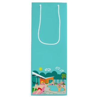 Sacola Para Vinho Saco alegre retro do presente da festa na piscina