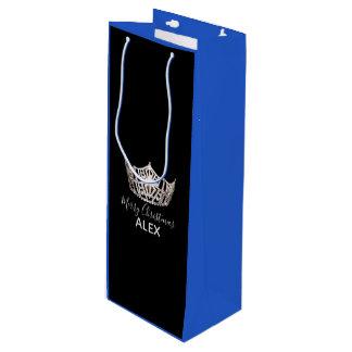 Sacola Para Vinho Saco-Natal azul do presente da coroa de prata da