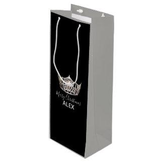 Sacola Para Vinho Saco-Natal cinzento do presente da coroa de prata
