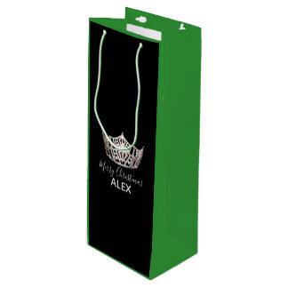Sacola Para Vinho Saco-Natal de prata do presente do verde da coroa