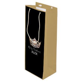 Sacola Para Vinho Saco-Natal de seda do presente da coroa do ouro da