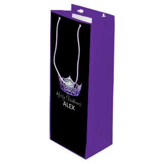 Sacola Para Vinho Saco-Natal roxo do presente da coroa PRPLE da